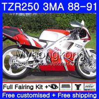 carenado tzr al por mayor-Kit para YAMAHA TZR250RR TZR-250 TZR 250 88 89 90 91 Cuerpo 244HM.41 TZR250 RS RR YPVS 3MA top rojo de fábricaTZR250 1988 1989 1990 1991 Carenado