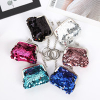 Wholesale handy cards resale online - 6styles Mini Sequins Hasp Coin Wallet Girls Mermaid Magic Sequin Clutch Handy Purse Key Coin Bag Card Holder Keys Earphone Bag FFA2008