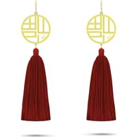 Wholesale chinese gold plated earring for sale - Group buy 2020 hot style luxury female earrings gold plated well known designer design Chinese style fashion temperament long style female earrings