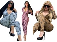 Wholesale romper dresses for sale - Group buy Women jumpsuit romper long sleeve long pant playsuit one piece pant fashion print slim trousers v neck fall womens clothing klw2718
