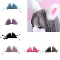 trajes de gato japonês venda por atacado-Anime japonês bonito raposa orelhas de gato hairpin mulheres meninas do partido do dia das bruxas cosplay jacaré hairgrip lolita traje acessórios para o cabelo
