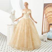 vestido de novia con encaje de lentejuelas doradas al por mayor-M31333 Fuera del hombro A-Line Vestidos de baile dorados Apliques de encaje Vestidos para la madre de la novia Tallas grandes con lentejuelas Vestidos para la madre del novio