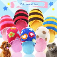 teddybär hundespielzeug großhandel-Pet Gesang Spielzeug Liebe Blume bunt gestreiften Pantoffeln Teddy als Bär Hund Molaren Plüsch Hundespielzeug