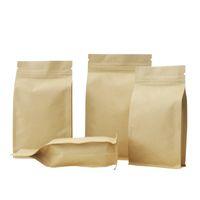 ingrosso sacchetto di carta marrone della chiusura lampo-sacchetto di chiusura del sacchetto della chiusura lampo del sacchetto della chiusura lampo del bordo di carta otto di Kraft, foglio di alluminio addensante tè di imballaggio, caffè, noce, sacchetto del pacchetto dell'alimento del grano