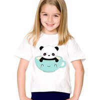 Wholesale panda clothes summer resale online - Children Cartoon Print Cute Coffee Panda Funny T shirts Kids Summer Short Sleeve Tees Boys Girls Casual Top Baby Clothes HKP2109