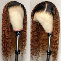 human hair wigs toptan satış-Brezilyalı Ombre İnsan Saç Su Dalgalı Peruk 150 Yoğunluk Sarışın Ombre Dantel Peruk 1bT30 Ombre Koyu Kökleri Ile Tam Dantel Peruk Sarışın Saç