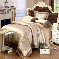 Wholesale silk tencel bedding sets resale online - Europe Tencel Jacquard Bedding Sets Luxury Satin Bedclothes Bed Set Lace Quilt Duvet Cover Bed sheet linen Queen King Size