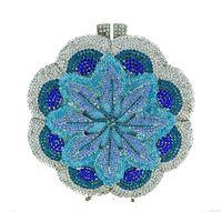 ingrosso borsa da sposa rosa-Pochette da sera di lusso rosa / blu di cristallo a mano a forma di cerchio frizione di diamante della borsa della borsa della borsa delle frizioni del partito di figura del cerchio