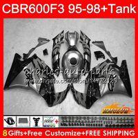 honda cbr f3 kaplama kiti toptan satış-+ Honda CBR 600F3 CBR600FS 600cc 97 98 1997 1998 Fairing 41NO.266 CBR600 F3 CBR 600 FS F3 CBR600F3 95 96 gri parlak 1995 1996 Kit için tank