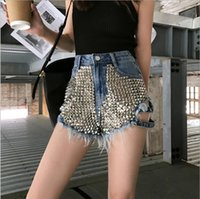 Donna Stile Vintage vita alta Bottoni Nero Denim Hotpants Pantaloncini