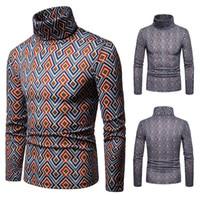 suéter de los hombres de color geométrico al por mayor-2019 HOT Men Colorful Geometric Patterns Cuello alto Suéteres para hombre Suéteres, 2 colores, negro naranja, tamaño de la UE S ~ XXL