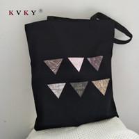 Wholesale geometric fold tote bag resale online - Women Large Capacity Canvas Eco Bolsa Reutilizable Shopping Bag Tote Geometric Pattern Printing Foldable Handbags School Bags
