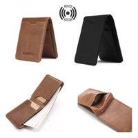 Wholesale notes block for sale - Group buy Mens Genuine Leather Slim Wallet RFID Blocking Small Card Holder Front Pocket Antimagnetic Multifunction Mini Purse Card Package Clip Gifts