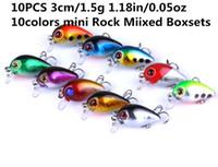 Wholesale 3cm lures resale online - 10PCS cm g in oz colors mini Rock Mixed Boxsets lure fishing bait Hard Baits High quality