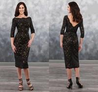 çay uzunluğu anne damat elbiseler kolları toptan satış-Seksi Siyah Dantel Şampanya Anne Damat Elbiseler ile Yarım Kollu Çay Boyu V Backless Yeni Ucuz Anne Akşam balo Elbise