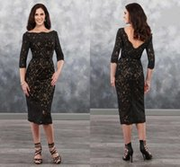Wholesale sexy mothers dresses resale online - Sexy Black Lace Champagne Mother of the Bride Groom Dresses with Half Sleeves Tea Length V Backless New Cheap Mother Evening prom Dress
