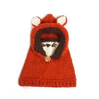 ingrosso cappelli di volpe di volpe-Warm bambini Fox del fumetto di lavoro a maglia cappello di inverno del bambino Pullover Beanie bambini Crochet Stoffe Cappelli di Natale del regalo del partito RRA2476