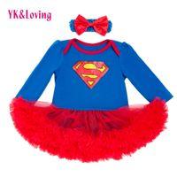rote kleid spitze puff ärmel großhandel-Volle Hülse Baby Mädchen Kleid Superman Infant Mädchen Vestido Red Lace Ruffle Tutu Kleid Mit Stirnband Schöne Neugeborenen Body Y19050801