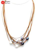 ingrosso commercio all'ingrosso di riso nero-vendita all'ingrosso 10-11mm collana di perle multicolore naturale per le donne con bianco grigio nero riso perla pendente in pelle 9 fili 19-21