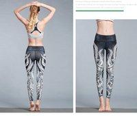 Wholesale yoga pants for women online - 2019 Spring New Octopus Printed Yoga Nine minute Pants Outdoor Sports Pants Tight Elastic Yoga Pants for Women