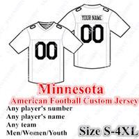 шить номера трикотажные изделия оптовых-Пользовательские Миннесота американский футбол трикотажные изделия 84 Мосс индивидуальные сшитые на любое имя любое количество размер S - 4XL Mix Order мужчины женщины молодежь сшитые