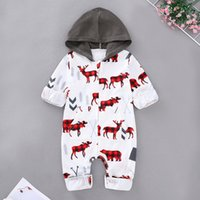 Wholesale hoodie for toddler resale online - Xmas Baby Romper Toddler Boy Girl deer print hoodies Infant Autumn Winter Holiday bodysuit Size for T