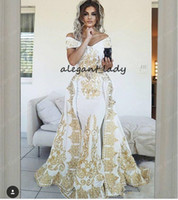 Wholesale piece short sweetheart for sale - Luxurious Mermaid Arabic Evening Dresses Sweetheart gold lace Embroidery puffy skirt Satin Prom Dresses with Detachable Train