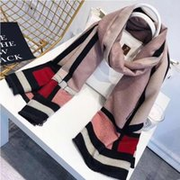 Wholesale big thick scarves resale online - 2019 new European and American big name wild bow imitation cashmere scarf female autumn and winter thick warm bib shawl