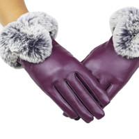 guantes de piel de conejo negro al por mayor-Nuevos guantes de llegada señora de las mujeres negras guantes de cuero otoño invierno conejo caliente mitones de piel guantes de mujer