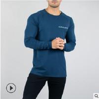 camisas de hombre cuello elástico al por mayor-Nuevo diseño elástico para hombre camiseta del o-cuello de manga larga camiseta de los hombres para el tamaño grande masculino Lycra y camiseta de hombre de negocios Tees