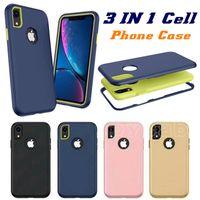 borda azul do telefone celular venda por atacado-3 em 1 armadura case para samsung nota 10 pro s10 além de A20E A70 A50 A30 M30 J4 A8 2018 HUAWEI Y7 Y6 2019 P20 Lite 2019 iPhone 6.1 2019 XR XS 8 6