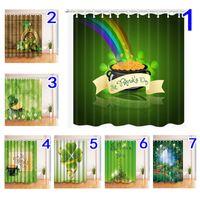 indian abstrakte gemälde großhandel-St.Patrick's Day Duschvorhang Polyestergewebe 180 * 180cm Grün St.Patrick's Day Muster Fenster Vorhang Badewanne Dekor