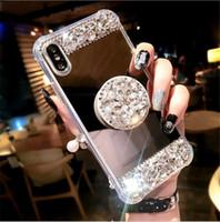 klammer blinkt großhandel-Explosion Modelle Luxus-Bohrmaschine Halterung Handy Shell für iPhone Xsmax Vier-Eck-Anti-Drop-Spiegel Soft Side All-Inclusive 6s