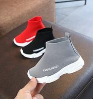 yürümeye başlayan çocuklar başında toptan satış-Tasarımcı Erkek Kız Bahar Rahat Ayakkabılar Yüksek Üst Örme Örgü Ayakkabı Toddler Bebek Çocuk Nefes Spor Koşu Yürüyüş Açık Sneakers