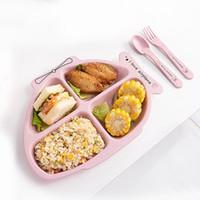 kaninchenschalen großhandel-Karikatur-Kaninchen-Flugzeug-Form-Schüssel-bunte Kinderbesteck-Umweltkinder-Platten-Brotdose mit Geschirr 3 PC / Set