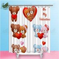 ingrosso tende all'orso-Vixm San Valentino Amore Orso Illustrazione Tende da doccia Acquerello Rosa rossa Tende tessuto impermeabile in poliestere per decorazioni per la casa