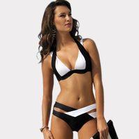swimsuit listrado venda por atacado-Novas Mulheres Branco Preto Bandage Bikini Set Empurrar Para Cima Halter Bikini Top Swimsuit Das Senhoras Listrado Impressão Floral Biquínis Sexy Beachwear CCF0226