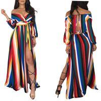 ingrosso abito coreano bohemien-Abbigliamento coreano Abbigliamento Boho Abiti da spiaggia eleganti Da donna Lungo Maxi stile boemo Bodycon Color Stripe stampato Sexy Solido