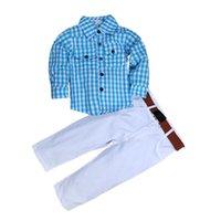 camisa azul claro da luva longa venda por atacado-Desgaste das crianças Threepiece Terno de Malha de Algodão Camisa Calças de Brim Cinto de Manga Longa Calças Western Light Blue Botão Lapela 50