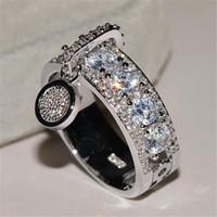 marka güzel mücevher toptan satış-Gelgit Marka Kadınlar Kişilik Yüzükler Moda Tasarımcısı Kristal Bling Kızlar Güzel Yüzük Parti Düğün Lüks Lady Yüzükler Takı