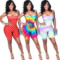 Wholesale cotton short jumpsuits online - Summer Women Shorts Jumpsuit Sleeveless Backless Rompers Tie dyed Gradient Color Strape Vest Lace Up Top Shorts Beach Club Clothes A41701