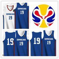 canasta de tazas al por mayor-Personalizados 2019 camisetas de la Copa Mundial de Baloncesto Dominicana Blanco Verde cosido Tamaño del: S-5XL