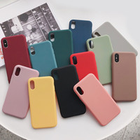 Wholesale cute couple cases for iphone for sale – best Solid Color Silicone Couples Cases For iphoneXR X XS Max S Plus Cute Candy Color Soft Simple Fashion Phone Case NEW