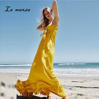 ingrosso giallo più i vestiti da spiaggia di formato-Plus Size Dress 2019 Women Summer Sexy Bohemian Beach Dresses Elegante abito lungo giallo allentato Maxi