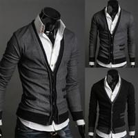 suéter cinza camisola homens venda por atacado-2019 Hot Cinza Escuro / Black Men moda simples algodão falso bolso zipper homem casaco de lã cardigan casaco L / XL / XXL importado