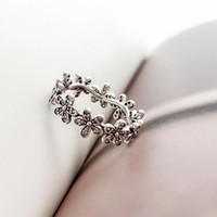 nuevos anillos de plata de ley al por mayor-NUEVO Auténtico anillo de bodas de plata esterlina 925 para mujer, caja original para Pandora CZ Diamond Flowers Fashion Luxury Ring