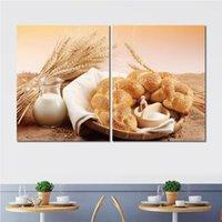 pãezinhos venda por atacado-Cartaz da arte de impressão sobre tela rolo de pão de gergelim jarro de leite 2 set parede pictures para decoração de casa