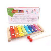 tocar el piano de madera al por mayor-octava madera que golpea el piano educación temprana instrumento educativo golpe de la mano del piano de juguete los niños mejor regalo del instrumento musical del bebé