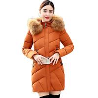 Lady Down Jacket Warm Thick Grande cappotto di pelliccia di cotone imbottito inverno lungo Parka Donne Arancione Grigio Nero Rosso tuta sportiva