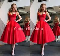 longitud de té vestido bola mujer al por mayor-Vintage vestidos de baile rojo de satén de longitud de té del arco de espagueti vestidos de bola de las mujeres vestidos formales de ropas Tamaño bolsillos plus de bal